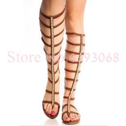 85ab4da0a Women Cutout Thong Sandals Boots Rome Gold Strap Woven Shoes Girls Back  Zipper Gladiator Flats Sandals Summer Knee High Boots