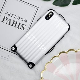 Wheel max online shopping - Fashion Cartoon Simulation Trunk Suitcase Wheel TPU PC Phone Case For iPhone X Plus S Plus Back Cover Coque