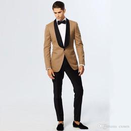 $enCountryForm.capitalKeyWord Australia - 2018 Latest coat pant Designs Khaki Brown Jacket Men Suits for Wedding Black Shawl Lapel Slim Fit Suits Party Tuxedo Black Pants Ternos