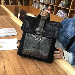 magnetic cloth 2019 - Leather Bag Women Hollow Out Mesh Cloth Travel Backpack Student School Bag Both Shoulders Fabric Belt Magnetic Buckle Ba