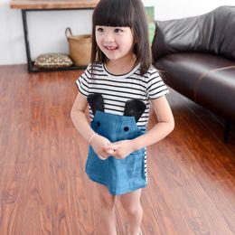 $enCountryForm.capitalKeyWord Australia - NEW Black and white striped cartoon mouse dress Children Kids Girls Short Sleeve Stripe Splicing Cartoon Mouse Dress Clothes