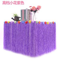 Party Flowers Celebration Decoration Australia - Hawaiian Luau Table Grass Skirt Hibiscus String Colorful Flowers for Hula Beach Party Decoration Birthdays Celebration Tiki Bars Events
