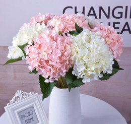 real hydrangea flowers Australia - Hot 47cm Artificial Hydrangea Flower Head Fake Silk Single Real Touch Hydrangeas for Wedding Centerpieces Home Party Decorative Flowers