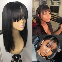 $enCountryForm.capitalKeyWord Australia - Short Bob Lace Front Human Hair Wig Brazilian Remy Hair with Bangs Pre Plucked Natural Hairline Fringe wig For Women