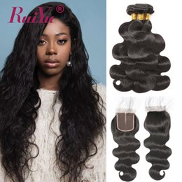 Wholesale Ruiyu Hair Products Brazilian Body Wave With Closure Peruvian Remy Hair Weft Weave Malaysian Indian Human Hair Bundles With Closure