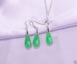 beautiful pendant sets Australia - real Women's Wedding shipping>>Beautiful Sets green stone Pendant necklace Earring