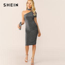 41b555f1bc1a2 SHEIN Sexy Grey One Shoulder Choker Neck Glitter Bodycon Summer Midi Dress  Women Solid Slim P2019 arty Glamorous Pencil Dresses