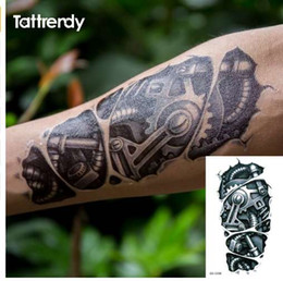 1798ae30d Temporary tattoos 3D black Robot mechanical arm fake transfer tattoo  stickers hot sexy cool men spray waterproof designs C058