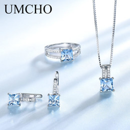 $enCountryForm.capitalKeyWord NZ - Umcho Elegant 925 Sterling Silver Necklaces Rings Earrings Created Sky Blue Topaz Wedding Jewelry Set For Women With Box Chain T190702