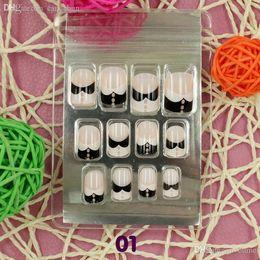 patterned acrylic nail tips 2019 - Wholesale-31 Pattern Option New Women 12PCS Natural French Style Tip False Nail Art Tip Acrylic UV Gel DIY Decoration 3D