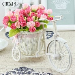$enCountryForm.capitalKeyWord NZ - artificial flores Rattan Bike Vase with Silk flowers Colorful Mini Rose flower Bouquet Daisy Artificial Flores For Home Wedding Decoration