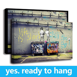 Art Canvas Prints Australia - Framed Canvas Wall Art Fashion Life Is Short BANKSY Canvas Painting Wall Pictures for Living Room Wall Art Decor - Ready To Hang