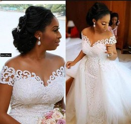 sky blue brown nigerian wedding dresses Canada - Sexy African Nigerian Mermaid Wedding Dresses With Detachable Train Full Lace Applique Sheer Off The Shoulder Short Sleeve Bridal Gowns