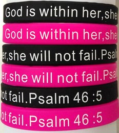 $enCountryForm.capitalKeyWord Australia - 20pcs Black & Pink Silicone Bracelets Men's Women's Jesus Religious Wristbands Hand Cuff God is within her, she will not fail. Psalm 46:5