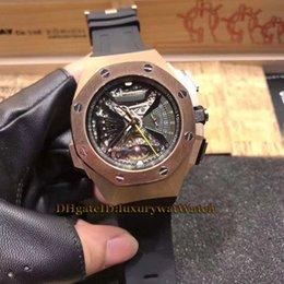 Discount swiss rubber - Luxry Brand Super Timekeeping 26577TI.OO.D002CA.01 Skeleton Dial Silver Case Swiss Quartz Movement Tourbillon Mens Watch
