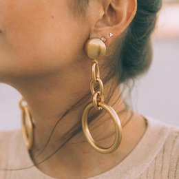 type gold color Australia - 2019 new type Trendy Gold Color Geometric chain Circle Earrings Lady Fashion Large design drop Earrings Set Jewelry