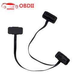 Bmw Obd2 Connector Australia - (30pcs lot) OBD2 Flat Splitter Cable For ELM327 16pin Male To Dual Female Thin As Noodles Y Splitter Elbow Extension Connector