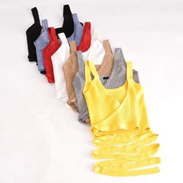 $enCountryForm.capitalKeyWord Australia - Txjrh Sexy Knitted Cross Deep V-neck Waist Tied Bow Camis Crop Tops Fashion Women Camisetas Strappy Bra Tank Vest Tee 7 Colors Y19042801