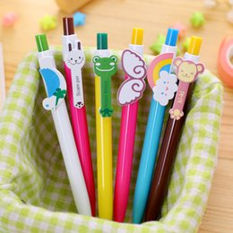 $enCountryForm.capitalKeyWord Australia - Kawaii Cartoon Rainbow Gel Ink Pen Plastic 0.5mm Ballpoint Pens Animals Retractable Ball Pen Kids Korean Stationery 3pcs