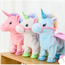 stuffed unicorn dolls 2020 - 35cm Lovely Electric Walking Unicorn Plush Toy Soft Stuffed Animal Electronic Pet Unicorn Doll Sing Song kids Baby Birth