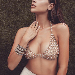 Sexy Halter Geometric Club Rhinestone Bra Body Chain Chest Accessories Sequined  Women s Bra Chain Cropped Party Bralette Gold fada1784374d