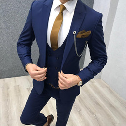 $enCountryForm.capitalKeyWord Australia - Navy Blue Groom Wedding Tuxedos Slim Fit 3 Pieces Notched Lapel Mens Pants Suits High Quality Designer Jackets