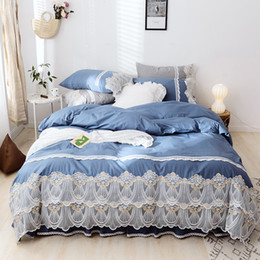 Cotton Dry Lace Australia - Cotton Lace Princess Bed set Luxury Wedding Bedding Sets Queen King Bedlinen Sheet Popular Duvet Cover Set Bed Skirt Pillowcases