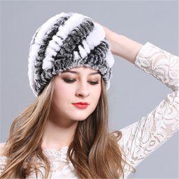 Rabbit Fur Scarves Caps Australia - Woman Ladies Fashional Real Rabbit Rex Fur Hat Winter Warm Cap Snow Wind Thick Warm Beanie Hat Ski Cap