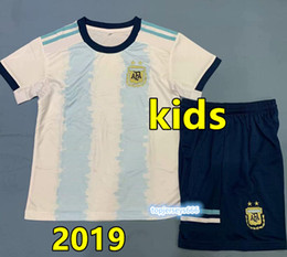 Wholesale New Argentina soccer Jersey Kids Kit Argentina kids home Soccer Jerseys Child Aguero Di Maria Dybala football shirt