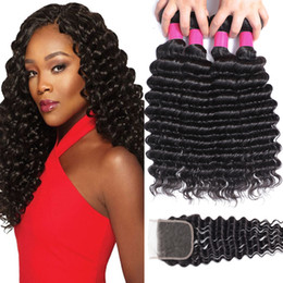 Curly brazilian virgin hair wefts online shopping - 9A Remy Brazilian Virgin Hair Bundles With Closures X4 Lace Closure Deep Wave Loose Curly Water Wave Straight Human Hair Wefts With Closure