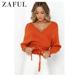 Wholesale low sleeve cut tops resale online - ZAFUL Autumn Plunging Low Cut Batwing Sleeve Peplum Belted Sweater Deep V Tie Loose Solid Sashes Pullovers Ladies Tops Daily