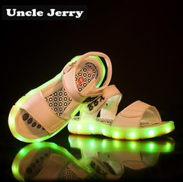 brown sandals for girls NZ - UncleJerry LED Light Sandals for Boys and Girls USB Rechargeable Beach Shoes Kids Summer Glowing Sandals Children Princess Shoes T200622