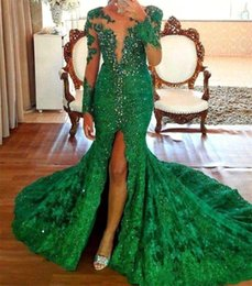 EmErald silk online shopping - Sexy Emerald Sheer Neck Mermaid Evening Dresses High Split Long Sleeves Beading Evening Gowns Custom Made Plus Size Vestidos De Festa BC1477