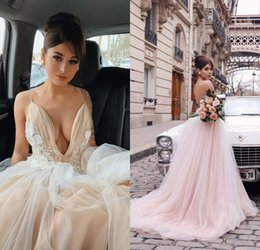 $enCountryForm.capitalKeyWord Australia - Blush Pink 3D Flower Tutu A Line Wedding Dresses 2020 Sexy Backless V Neck Sleeveless Spaghetti Strap Beach Bridal Gowns Lace Wedding Gowns