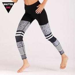 Workout Gym Leggings Australia - Shutterchic yoga pants partchwork strip leggings women training gym legging pants running workout seamless women sport leggings