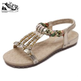 $enCountryForm.capitalKeyWord Canada - Bohemian Women Sandals Rhinestone Inlay Slippers Summer Beach Sandals Women Flip Flops Ladies Casual Flat Shoes