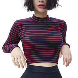 Cropped Tees Australia - Crop Tops Women Chic All-match Classic Stripe Slim Short Bustier Crop Top Turtleneck Long Sleeved T-shirt Sexy Shirts Tee