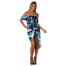 37f6270bd1ac Sexy Women Boho Beach Dress 2017 Off The Shoulder Ruffles Wrap Dress Floral  Print Asymmetric Ruched Split Summer Holiday Dress