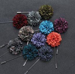 $enCountryForm.capitalKeyWord Australia - Men Suit Brooch Pins Lapel Flower Pluripetalous Floral Corsage Boutonniere Stick 11 Colors for Wedding Party Dress Accessories
