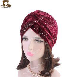 Neon Beanies Wholesale Australia - New fashion Women rhinestoned velvet Turban Neon Casual Twist Stretch Turban Headband Chemo Hat Hijab Turbante Hair Accessories