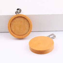 pendant trays Australia - Shukaki Round Wood Cabochon Setting 20mm 25mm Dia Blank Wooden Cameo Base Diy Pendant Bezel Trays For Jewelry Making