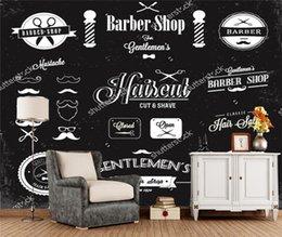 Encargo del papel pintado barbero, etiquetas e iconos barbería, 3D moderno para la vida sofá de fondo Papel de parede en venta