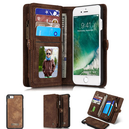 Iphone Removable Case NZ - Original Luxury Removable Wallet Magnetic Flip Leather Cover Case For iPhone 7 7Plus Card Slots Phone Stand Holder Pocket