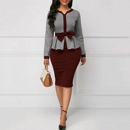 $enCountryForm.capitalKeyWord Australia - Clocolor Office Ladies Elegant Women Bodycon Tunic Autumn Long Sleeve High Waist Large Size Female Fashion Afircan Vintage Dress MX19070307