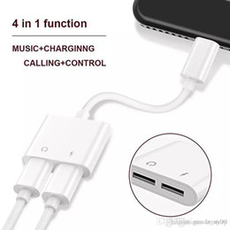 Wholesale 2 in 1 Dual For Lightnin to Headphone Audio Charger Adapter Connectors Cable For iPhone 7 8 X Plus For iOS 10.3 11 Charging Music