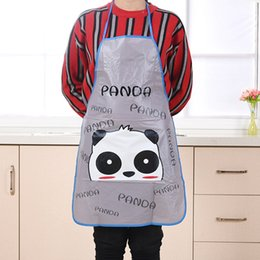 Wholesale Kitchen Waterproof Oil Proof Apron Half length Sleeveless PVC Cute Printing Apron Kitchen Cooking Princess Lady Translucent Apron BH0401 TQQ