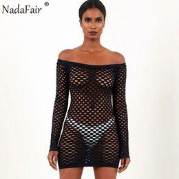 3fcb0d60aa Nadafair Long Sleeve Off Shoulder Hollow Out See Through Mesh Sexy Club  Dress Fashion Slash Neck Mini Party Dresses White Black Q190506