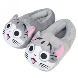 cute anime slippers NZ - 2018 New Cartoon Cat Cotton Slippers Soft Warm Home Slippers for Girls Anime Cartoon Plush Stuffed Shoes Cute Winter