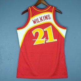 100% cousu Mitchell Ness Dominique Wilkins cousu jersey Mens Mens Vest Taille XS-6XL maillots de basket-ball cousu Ncaa en Solde