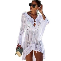 Sexy clothing united StateS online shopping - Europe and the United States new hollow knitted skirt flared sleeve beach coat sexy bikini smock sun protective clothing swimsuit